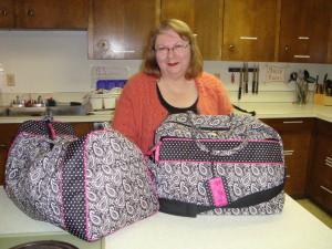 KarenJean and her bags of goodies.
