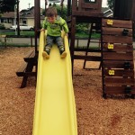 Sliding down the slide