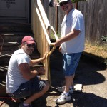 Josh and Joe adding railings to the outside stairs