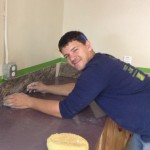 Josh installed the back splash in the kitchen using tiles Jim donated.