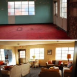 The ugly room with paint-stained red carpet full of junk is now a beautiful living room.
