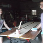 Staining the boards