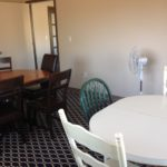 The conference room is ready for meetings or classes.