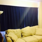 Curtains make from fabric donated by Stagecraft
