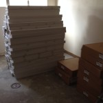 They delivered all these boxes of flooring. He worked hard!