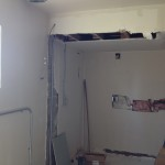 This is where the pantry used to be. Tony took out the rest of the wall and we have a new place to plug in the stove
