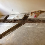 Here is the floor for the shower room, ready for the plumbers to add the new pipes.