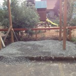 They put the gravel down to prepare for the cement.